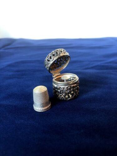 Unger Bros Floral Pierced Sterling Silver Thimble + Case Chatelaine Antique