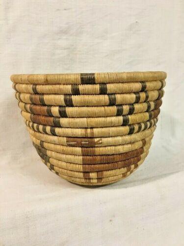 Vintage Hopi Pueblo Indian 2nd Mesa Coiled Basket Deer Storm Clouds ca. 1940-60s