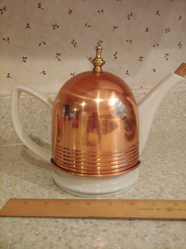 Vintage Ceramic Tea Pot with Felt-lined Copper Cozy