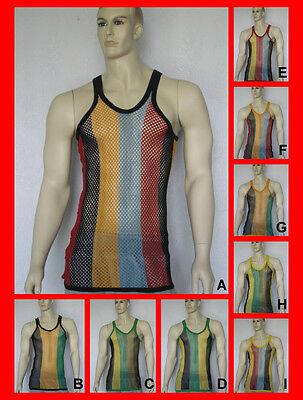 Multi-stripe Mesh (Mens Fitted Rasta Multi Stripe String Vest Mesh Fishnet Muscle Top)
