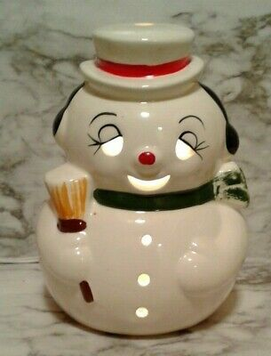 """Vntg 8"""" Lighted FROSTY the SNOWMAN Ceramic Mold Christmas Figure Lamp Christmas"""