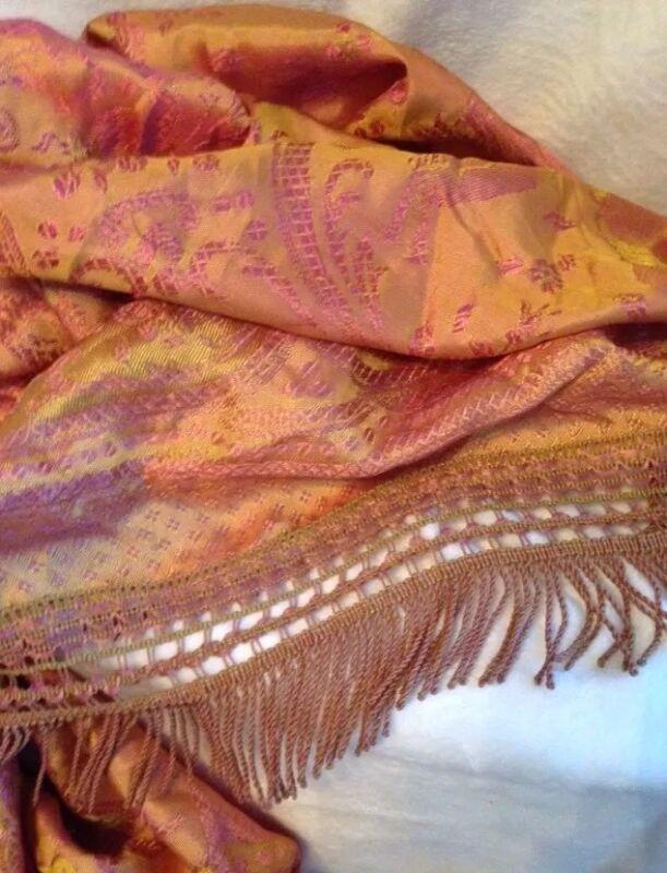 """Antique 1900s Italian Large Damask Silk 5"""" FRINGE Bedspread Coverlet GOLD PINK"""