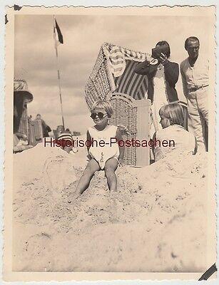 (F12440) Orig. Foto Binz 1931, Mädchen Christa Ungetüm am Strand
