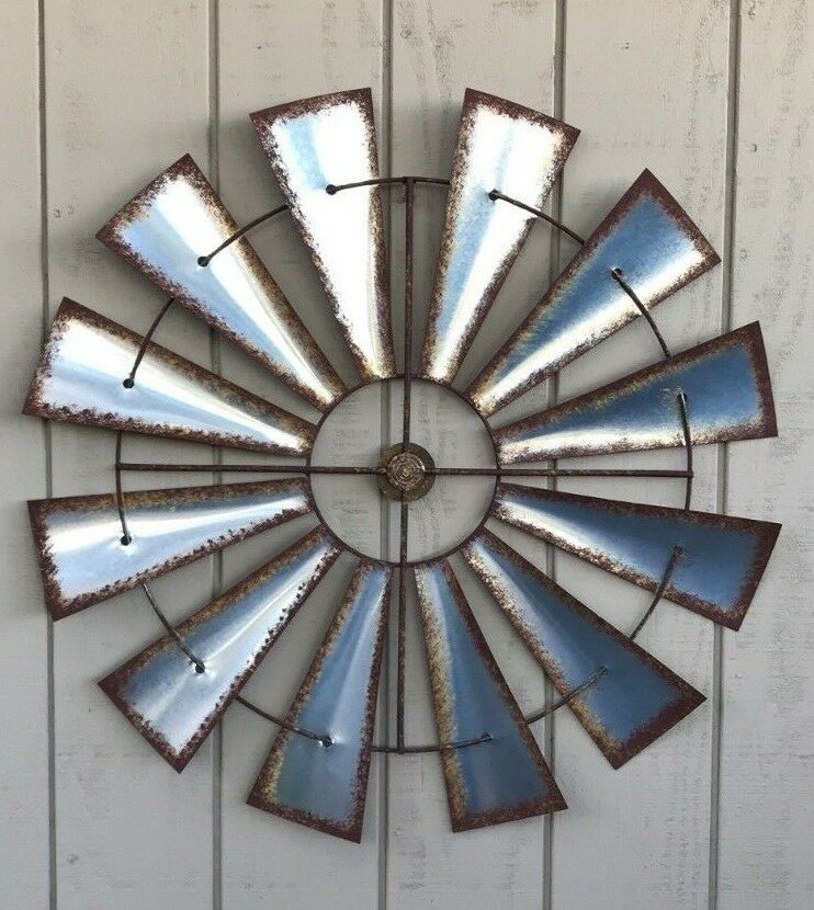 "Rustic Farm House Wall Art Home Decor 32/"" Metal Wall Art Antique Retro Compass"