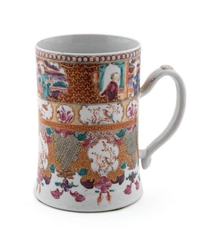 18th Century Chinese Export Rose Mandarin Porcelain Decorated Mug