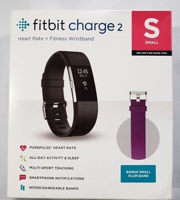 Fitbit Charge 2 Heart Rate   Activity Tracker Black Small W  Bonus Plum Band Fb4