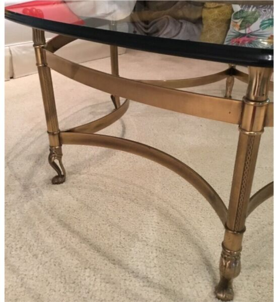 Italian made brass bass/glass top coffee table