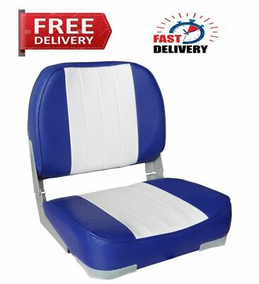 Boat Seat Leader Accessories Deluxe Folding Marine(White/Blue)