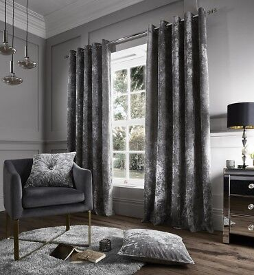 - Catherine Lansfield Crushed Velvet eyelet curtain & Cushions in Silver