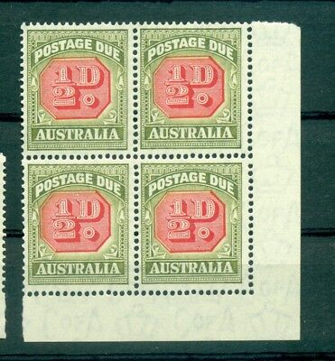 CIFRE - NUMBERS AUSTRALIA 1946/1957 Postage Due block of 4 1/2d