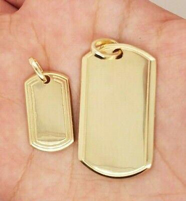 10k Yellow Gold ID Tag Dog Tag Plain Pendant Custom Engravable Gift Present