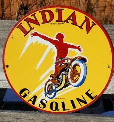 RARE OLD VINTAGE 1936 PORCELAIN SIGN GAS OIL INDIAN SPIRIT MOTORCYCLE HARLEY