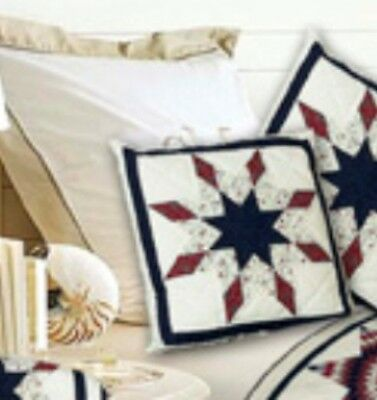 LONE STAR PATTERN COTTON FABRIC QUILTED ACCENT THROW PILLOW