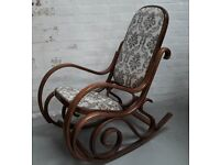Vintage Bentwood Rocking Or Nursing Chair With Floral Fabric