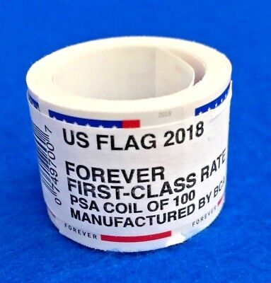 One Roll Of 100 Forever 2018 U.S. Flag Coil Stamps $50 FV