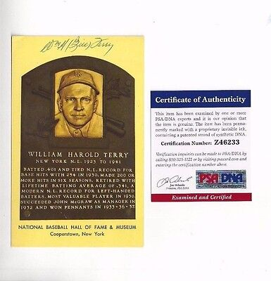 Bill Terry NewYork Giants Baseball HOFer Autographed Plaque Postcard PSA COA