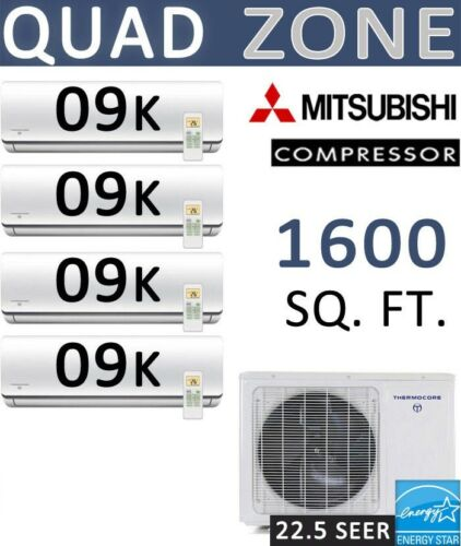 22.5 Seer Quad Zone Ductless Mini Split Air Conditioner Heat Pump : 9000 Btu X 4
