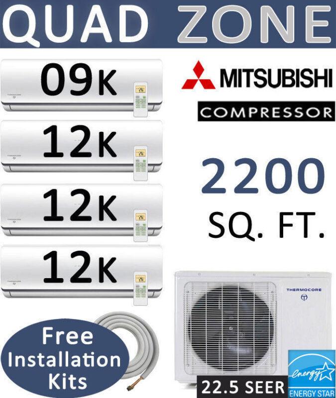 45000 Btu Quad Zone Ductless Split Air Conditioner Heat Pump: 9000 + 12000 X 3
