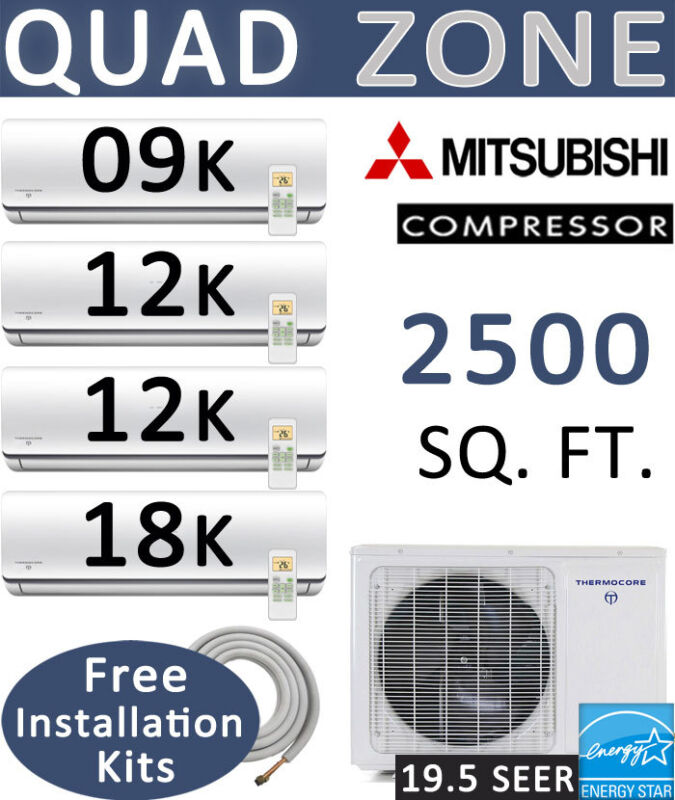 QUAD Zone Ductless Mini Split Air Conditioner Heat: 9000 + 12000 x 2 +18000 BTU