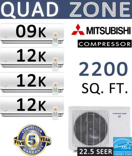 Quad Zone Ductless Mini Split Air Conditioner, Heat: 45000 Btu: 9000 + 12000 X 3