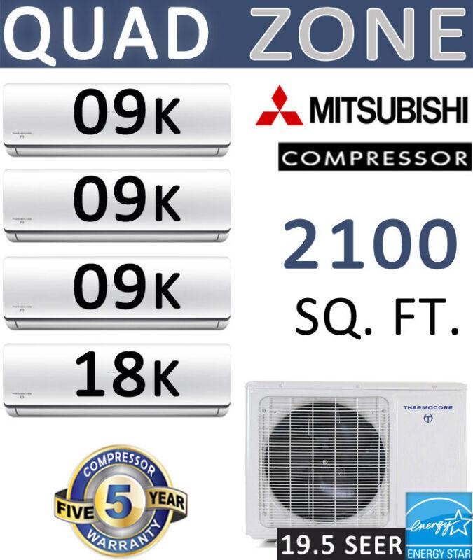 45000 BTU Energy Star QUAD Ductless Mini Split Air Conditioner: 9000 x 3 + 18000