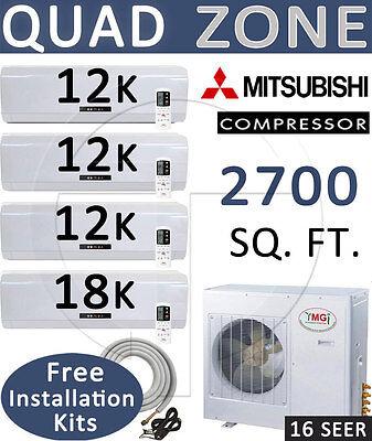 Quad Zone Mini Split Ductless Air Conditioner Heat 12000 x 3