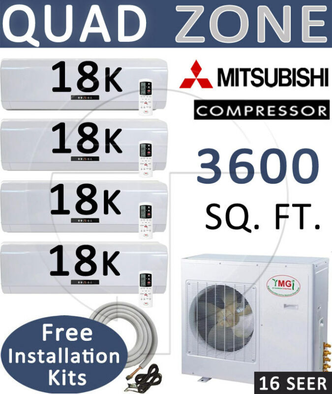 Quad Zone Mini Split Ductless Air Conditioner Heat Pump 18000 Btu X 4, 25ft Kits