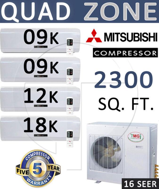48000 Btu Quad Zone Mini Split Ductless Air Conditioner 9000 X 2 - 12000 - 18000