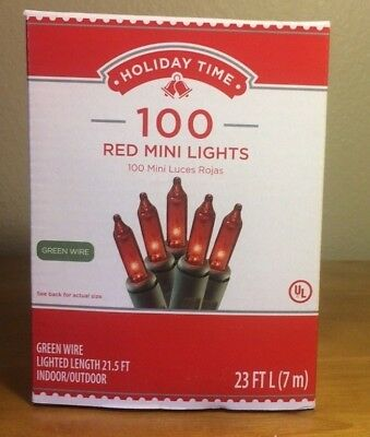 Holiday Time 100 Red Mini Lights-Christmas-Wedding-NEW-Green Wire  ()