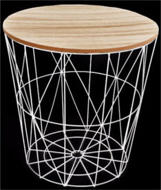 Brand New White Metal Wire Table with wood lid storage geo style