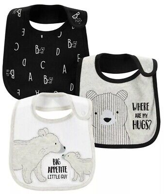 NWT BABY BOY WATER RESISTANT 3 PACK OF BIBS- Bears/ White And Gray
