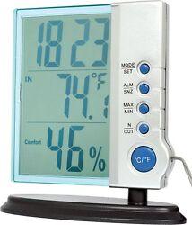 Digital clock weather station big LCD temperature humidity desktop display