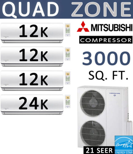 Quad 60000 Btu Ductless Mini Split Air Conditioner Heat Pump, 12000 X 3 + 24000
