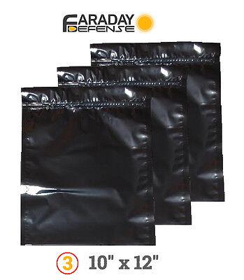 3 Faraday Cage Esd/emp Bags Notebook Preppers / Survivali...