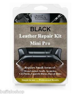 MINI PRO BLACK LEATHER REPAIR KIT FOR RIPS HOLES SCUFFS - VIEW REPAIR IMAGES