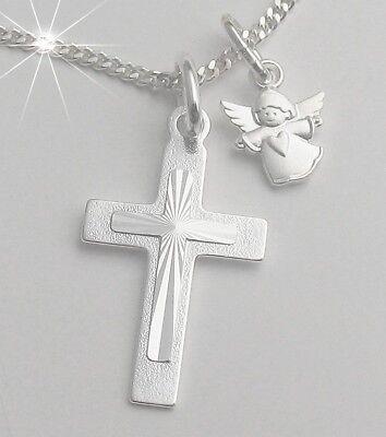 Kreuz Anhänger Schutz Engel und Kette Silber 925 Kommunion Konfirmation Kinder