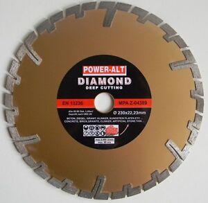 diamant trennscheibe 230 mm granit beton klinker von power alt f tiefenschnitt. Black Bedroom Furniture Sets. Home Design Ideas