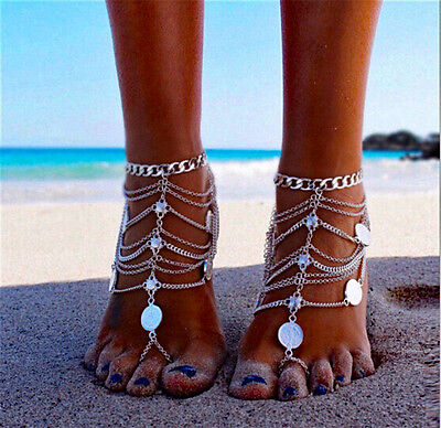 Boho Vintage Silver Coin Blessing Tassel Anklets Foot Jewelry Barefoot Sandals