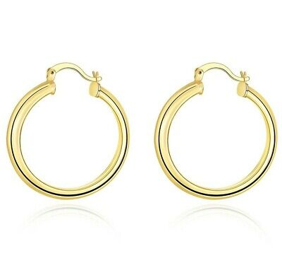 14K Yellow Gold Filled 34mm Thickness High Polished Classic Hoop Earrings ITALY