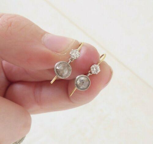 18ct gold rose cut diamond earrings, rare Georgian
