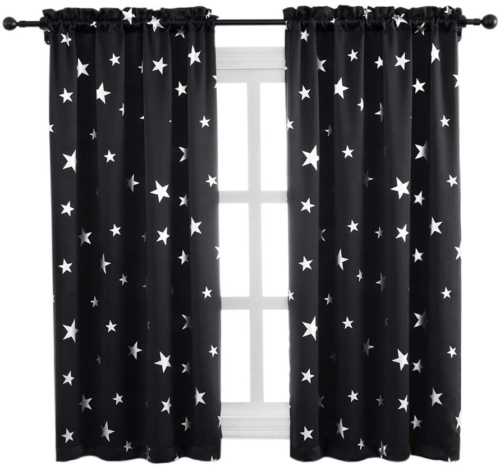 Black Curtains for Kids Room with Cute Silver Star Pattern,3