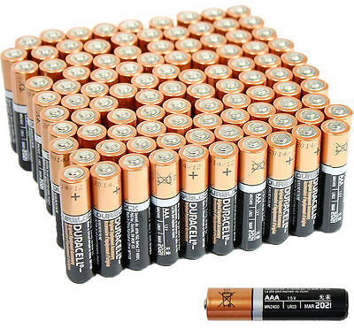 100 PCS Duracell AAA 1.5V Alkaline Batteries Duralock LR03 AM4 Bulk Exp. 2021