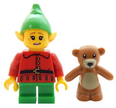 NEW LEGO FEMALE CHRISTMAS ELF w/Teddy Bear figure minifigure santa claus minifig](Female Santa)