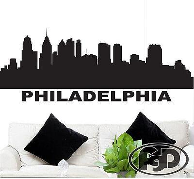 "Wall Decal Sticker Philadelphia Skyline 22"" x 58"" Home / Off"
