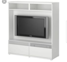 White Tv Unit with 2 drawers