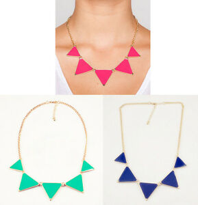 Fashion-Triangle-Collar-Necklace-Choker-Punk-Geometric-Green-Pink-Blue-New-Style