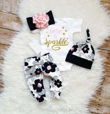 US Seller Newborn Baby Girl Floral Clothes Romper Pants Leggings Hat Outfit 4pcs