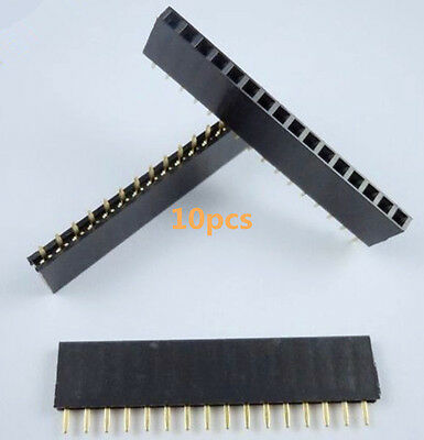 10pcs16 Pin Single Row Female Straight Header Strip 2.54mm Pitch