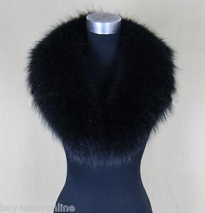 Black Real Raccoon Fur Collar scarf wrap shawl winter neck warmer 31.5inch 80cm