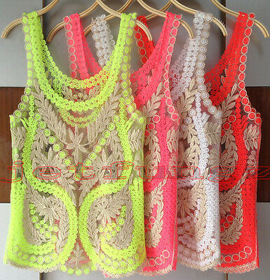 Women Sheer Embroidery Floral Lace Crochet Vest Tank Top Tee Shirt Blouse S~XXL